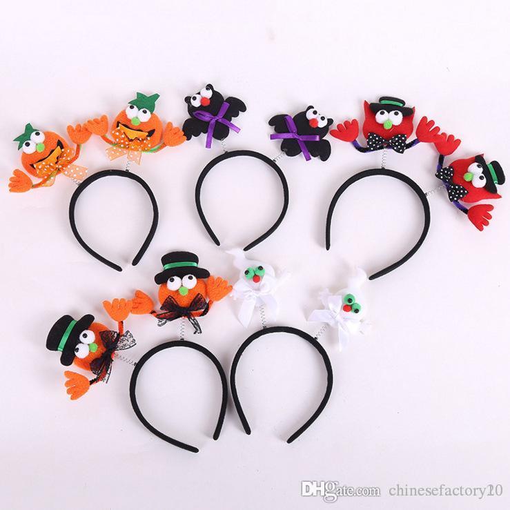 Kids Halloween Hair Sticks Luminous Flashing Hairband Pumpkin Bat Light up Cosplay Headband Party Headwear Gift