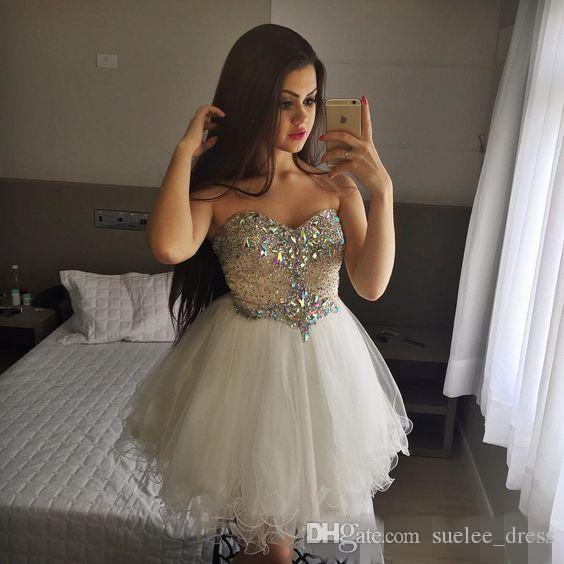 2019 Luxury Beaded White Homecoming Dresses Sweetheart Neckline Tulle Short Mini Strapless Cocktail Party Juniors Graduation Gowns