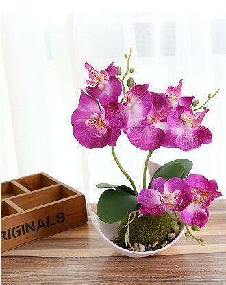 1 Unidades Artificial Mariposa Orquídea Bonsai Flor falsa decorativa con adornos en maceta Decoración de la mesa del hogar Decoración de la boda