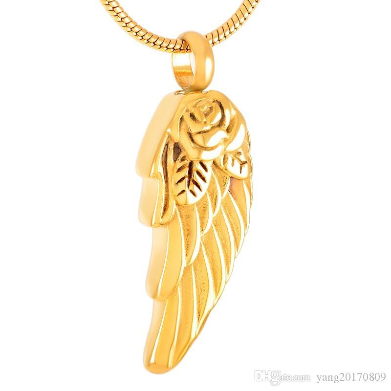 IJD8371 en acier inoxydable Crémation aile d'ange Shallow or rose collier pendentif parc Bijoux pour Ashes Urn Collier Souvenir