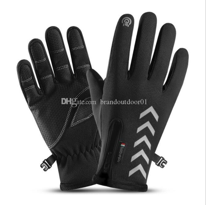 UK Mens Winter Leather Motorcycle Full Finger Windproof Touch Screen Warm Gloves