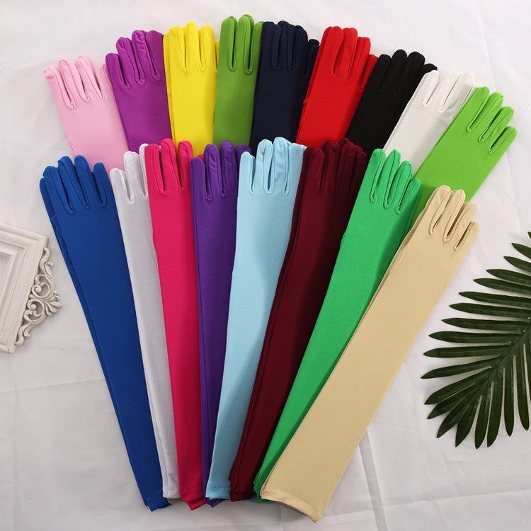Дешевые Женщины партия танцульки Свадебные перчатки Полный Finger сатин белый перчатки Длинные свадебные перчатки для невесты Аксессуары Pink Elbow перчатки