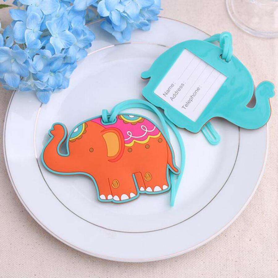 50PCS Lucky Elephant Luggage Tags Baby Shower Favors Wedding Party Giveaways Gift Airline Luggage Creative Gifts RRA1909