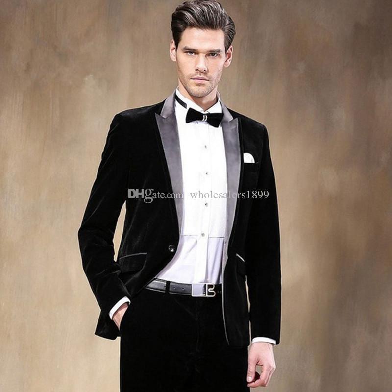 Prom Black Velvet Dinner Groom Tuxedos Wedding Formal Best Man Lapel Men Suits