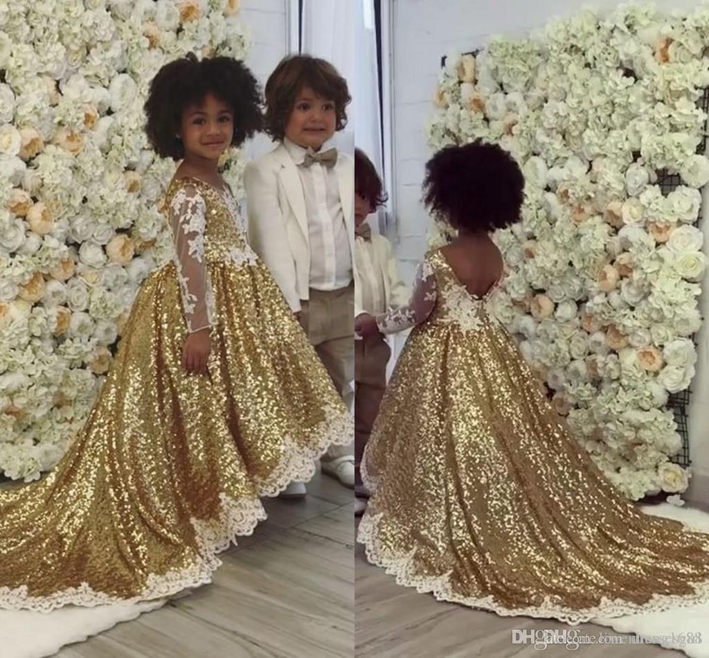Bling lentejuelas de oro vestido de bola Vestidos de la muchacha Sheer manga larga apliques lindos vestidos de fiesta para niña