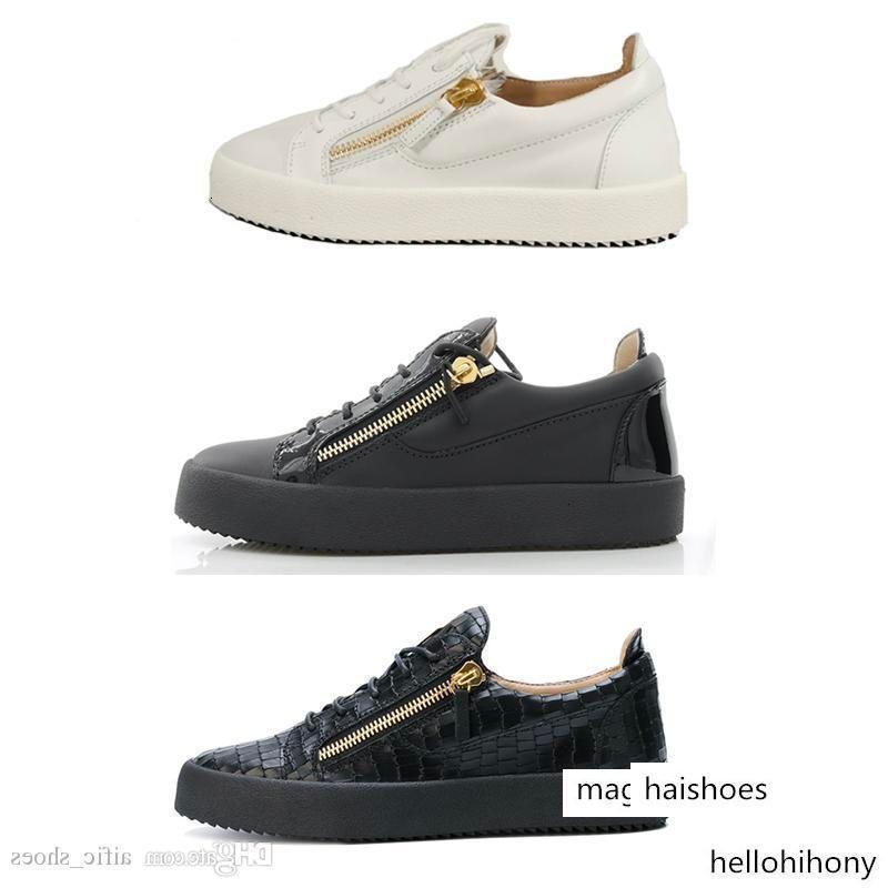 Hommes Chaussures d'or Zip Frankie Sneaker femmes RunningTrainers cuir véritable plate-forme Chaussures de sport noir serpent blanc avec boîte US 12