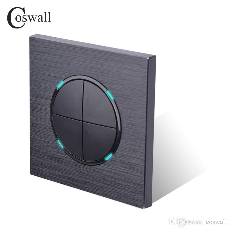 Coswall Luxurious 4 Gang 2 Way Random Click Push Button wall Light Switch With LED Indicator dark Black Aluminum metal Panel free shipping