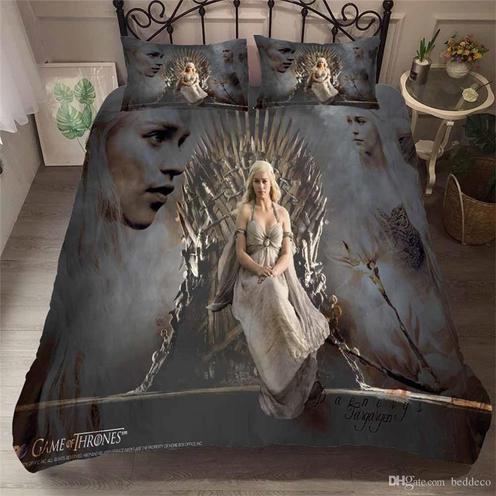 Thrones Yatak Seti Güzellik Moda Klasik Nevresim Kral Kraliçe Tek Çift Yataklı Full Of Oyun yastık kılıfı ile Kapağı Yatak