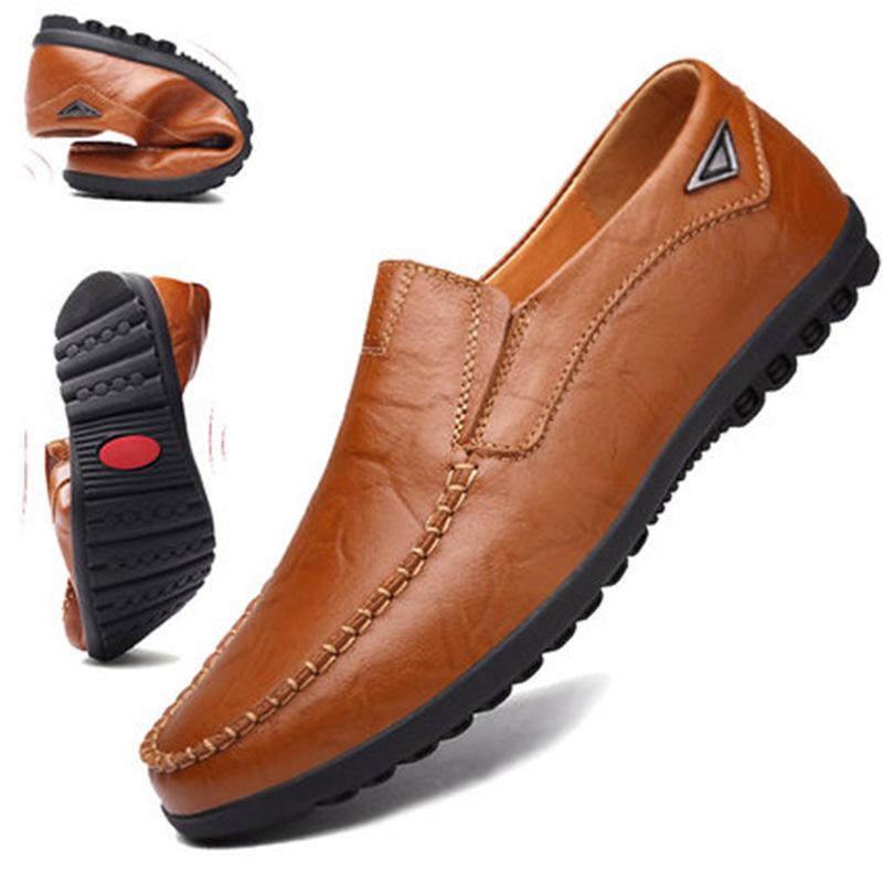 38-46 Herrenschuhe Ebene-beiläufige Schuh-Mann Split Leder Slip-On Loafer Men Bequeme schwarze Schuhe Herren Loafer