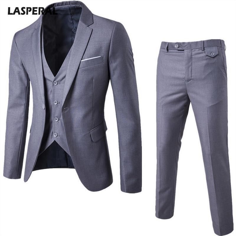 Lasperal 3 أجزاء مجموعات الرجال الأعمال ارتداء البدلة + سترة + السراويل سترة مجموعات سليم الذكور الدعاوى حفل زفاف حزام سترة