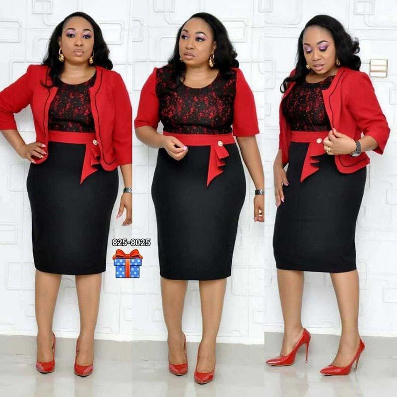 Afrika Giysi Dantel Patchwork Iki Parçalı Set Kadın 2019 Zarif BlazerLace Kalem Elbise Yüksek Kalite Ofis Bayan Artı Boyutu