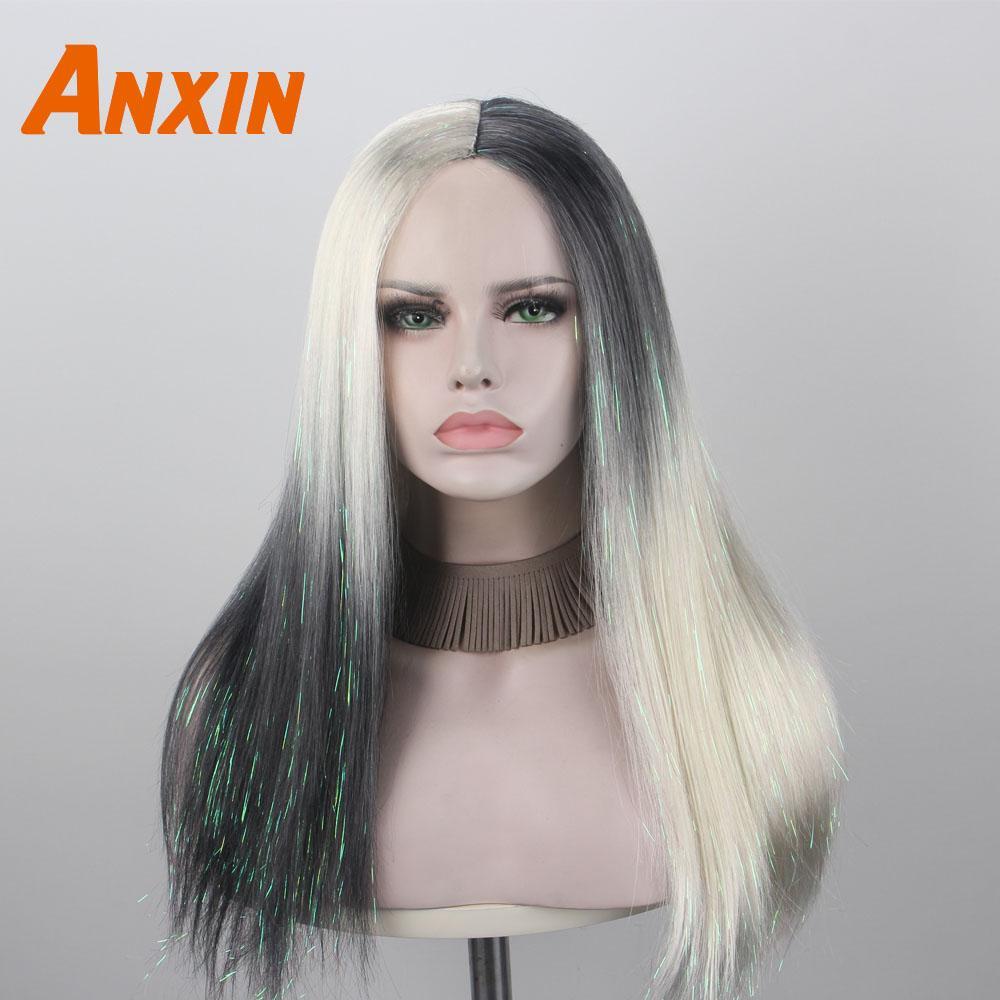 Anxin lungo rettilineo moderna nuovo arrivano Mezza Bianco e nero Ombre parrucca sintetica Non capelli umani per le ragazze del partito di Cosplay giornaliera