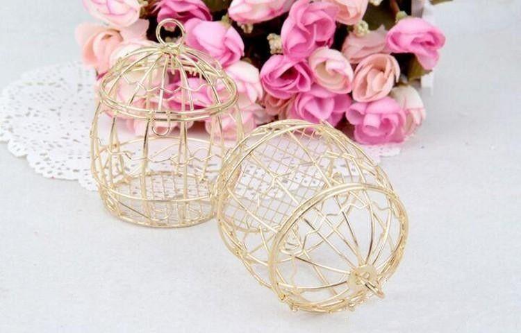 Gold color Wedding Favor Box European romantic wrought iron birdcage wedding candy box tin box for Wedding Favors