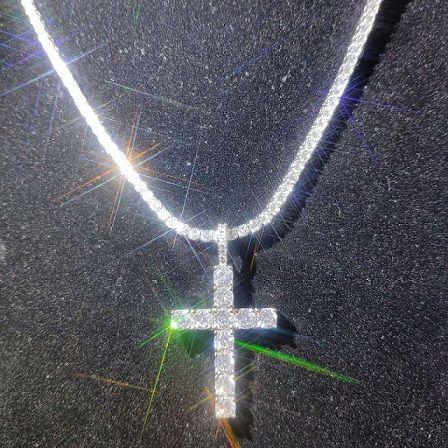 Brillant diamant pierre croix pendentifs collier bijoux platinum plateté hommes femmes amoureux cadeau couple bijoux religieux