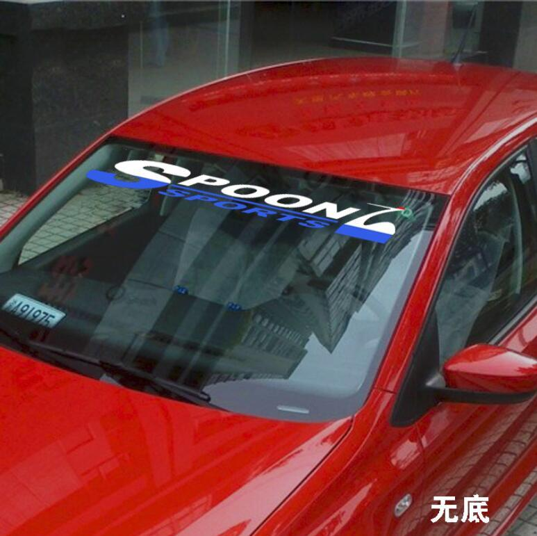 Univeral SPOON Sports Car Front Rear Windshield Banner Decal Reflective Sticker