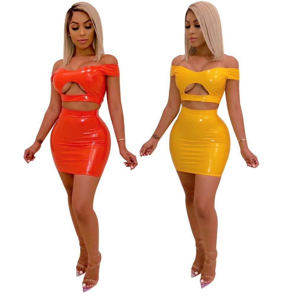 Omuz Kısa Kollu Cut Out Crop Top Mini Etek Kıyafetler Sarı Turuncu Kapalı Kadın İki Adet Etekler Seti Seksi Kulübü Elbiseler Sahte Deri Zip