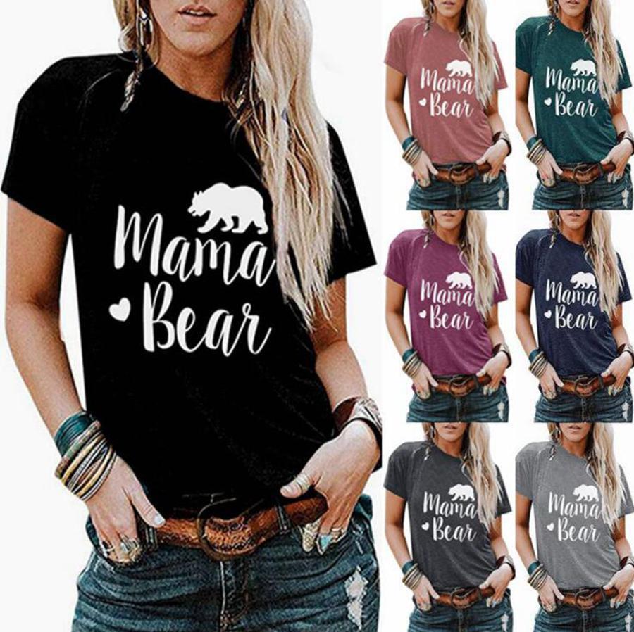 Мама напечатанные рубашки OOA7628-2 TEES Цвета медведя Рукав короткие женские летние футболки 7 футболки Пуловерное открытое письмо EPUHQ