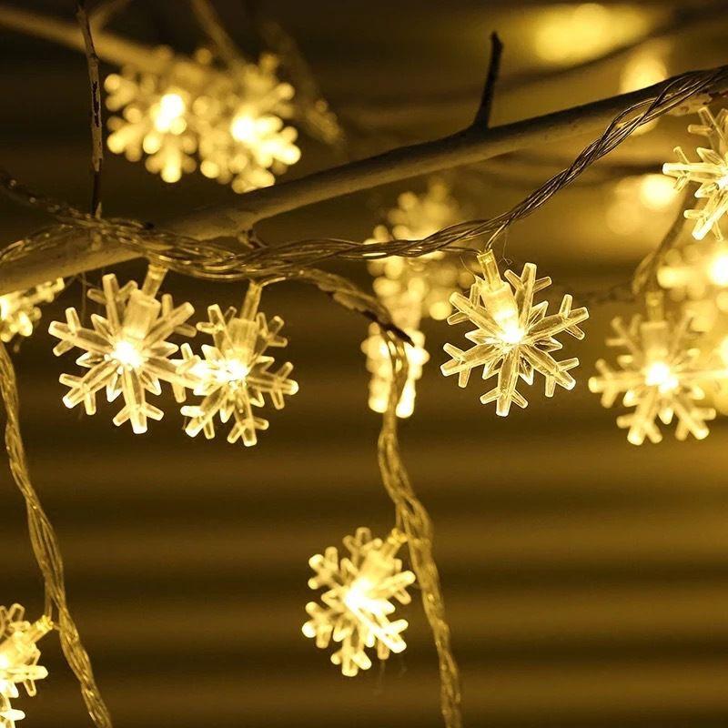 Garland Feiertags-Schneeflocke-Schnur-feenhafte LED-Leuchten batteriebetriebenes hängende Verzierungen Weihnachtsbaum-Partei-Haus-Dekor-Lampe