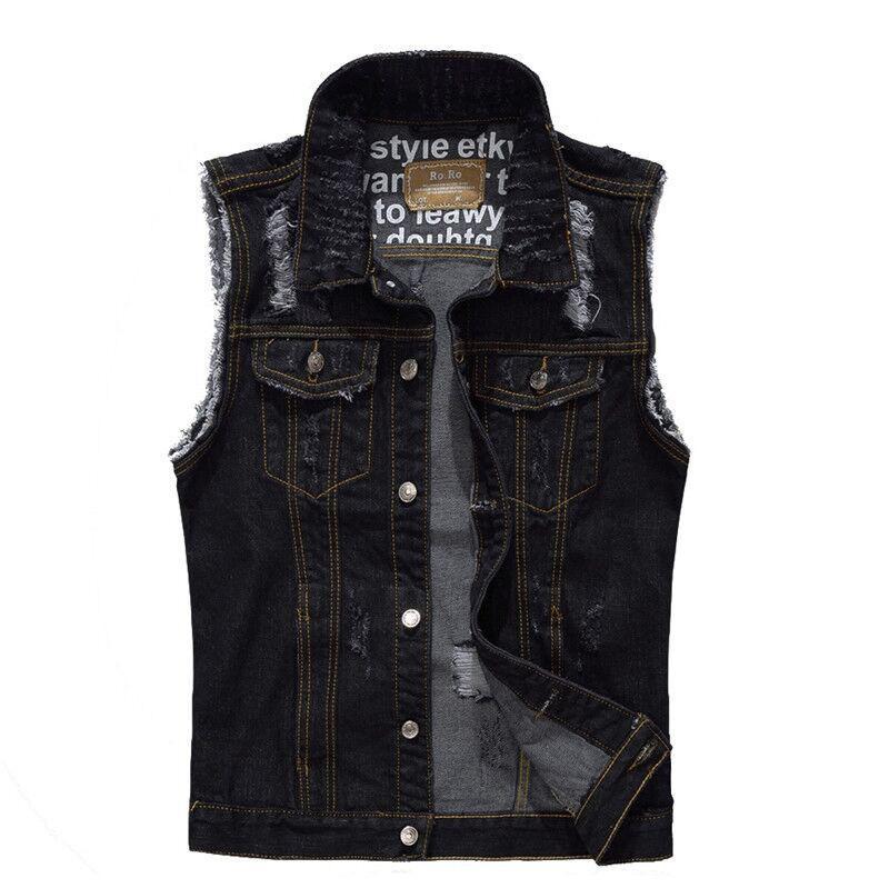 KIMSERE Herren Ripped Jeans Weste Schwarz Distressed Denim Westen Für Herren Hi Street Torn Sleeveless Jacken Plus Size M-5XL