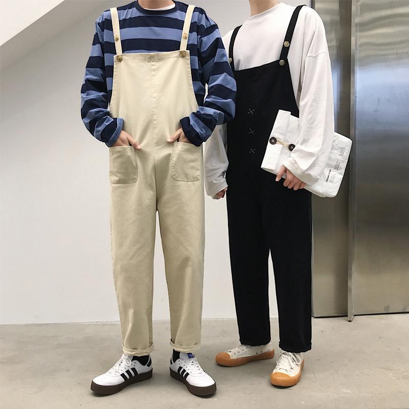 Модные комбинезоны Комбинезоны корейский стиль подтяжки-брюки Slim-Fit длина лодыжки для мужчин и женщин T200410