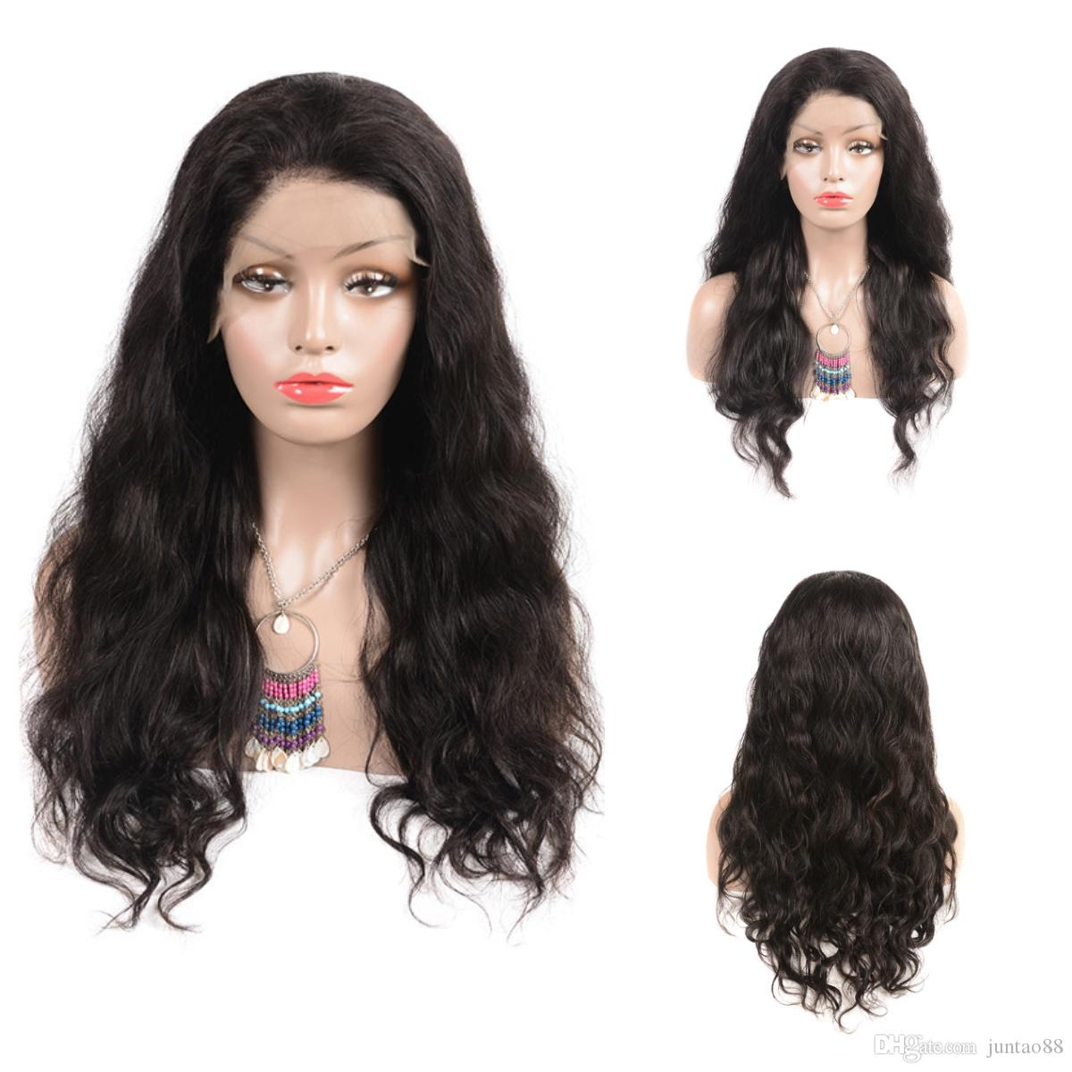 8-24'' 1B# Body wave Human Hair lace front wigs 100% human hair Long curly Lace Front Wigs