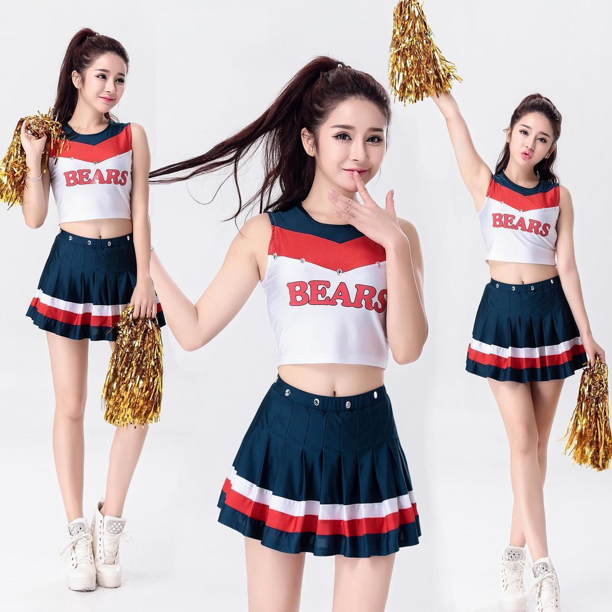 Cheerleading Uniformes Estudantes Jogos Cheerleaders Roupas Mulheres Meninas Uniformes Escolares Adultos Cheerleader Trajes de Dança C18122701