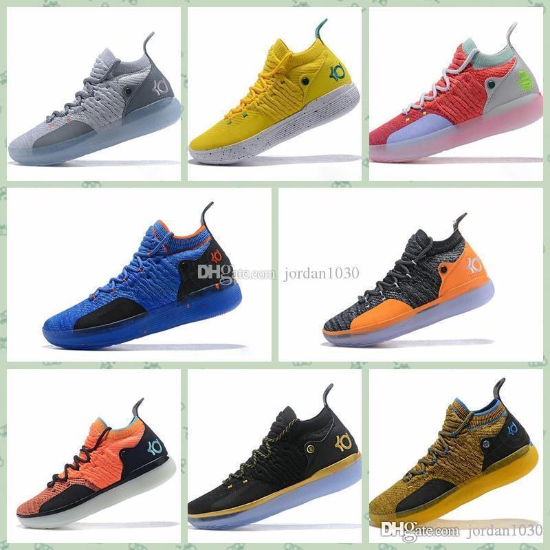 Durant ZOOM KD11 KD 11 2019 la venta caliente de los zapatos KD11 11 EP Blanco Naranja espuma rosa ICE baloncesto Kevin Durant originales KD11 Mans Formadores zapatillas de deporte