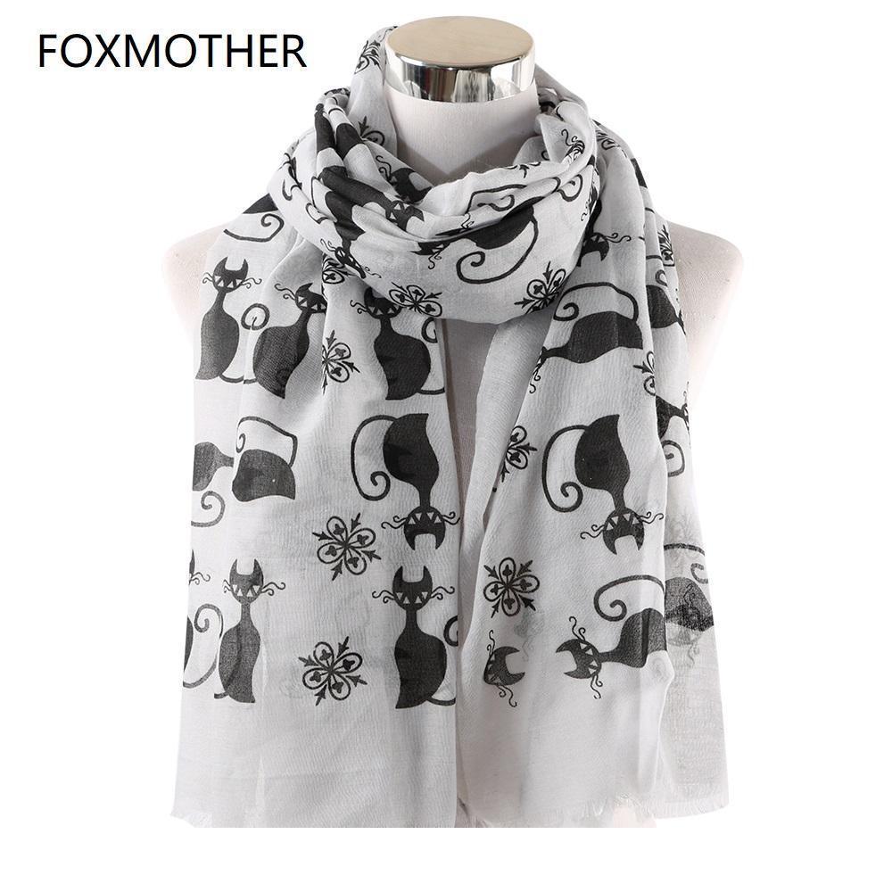 Articoli da regalo gatto bianco rosa Designer FOXMOTHER nuova annata Foulard Femme Cat Animal Sciarpe per l'amante della madre Sciarpe Dro