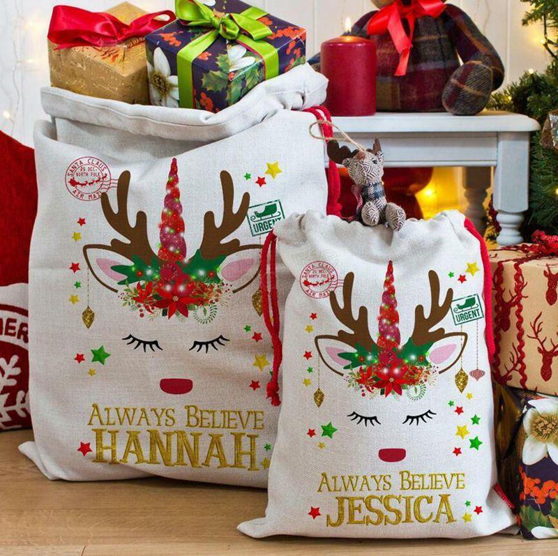هدية عيد الميلاد حقائب كبيرة العضوية يونيكورن حقائب حقيبة عيد الميلاد كيس الرباط حقيبة مع حيوانات الرنة سانتا كلوز كيس للأطفال LJJA2970