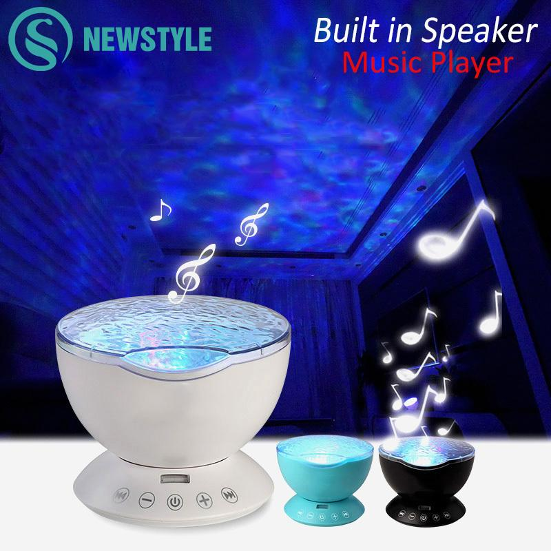 7colors Led Light Starry Sky Remote Control Ocean Wave Projector With Mini Music Novelty Baby Night Lamp For Kids Q190611