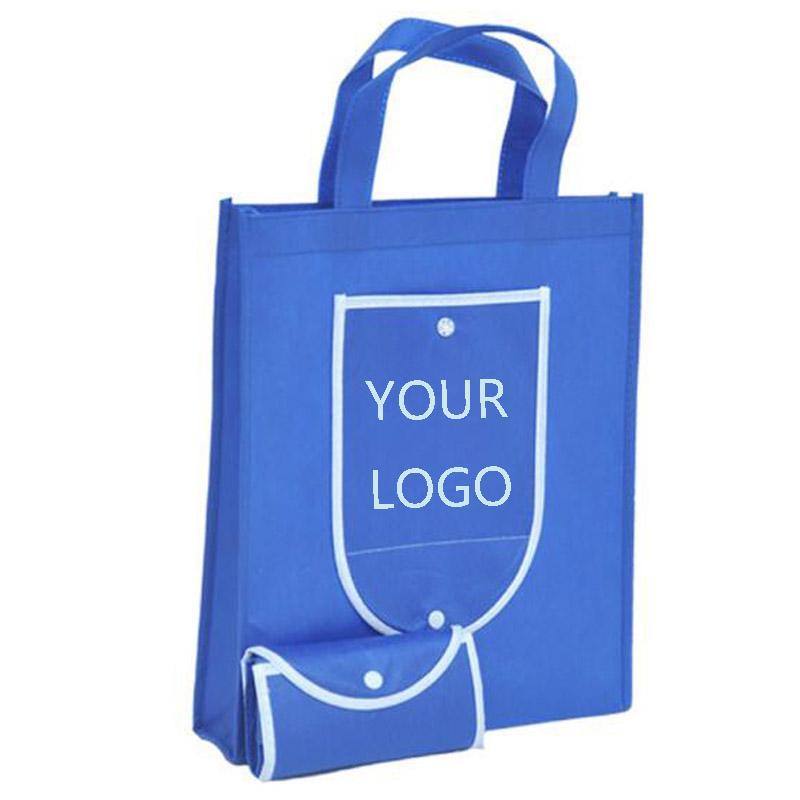 Los bolsos de encargo 300PCS no tejido bolsa de supermercado compras bolsas plegables de impresión con