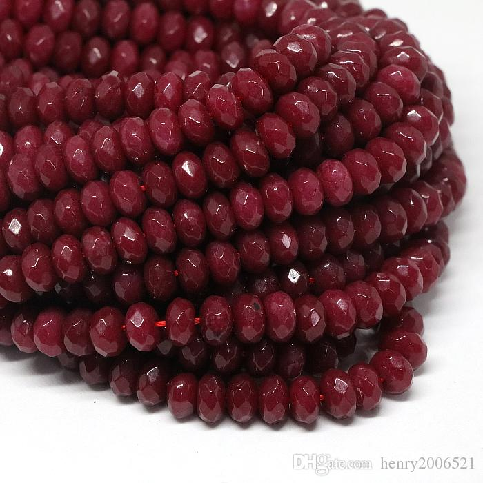 Natural Faceted Brazil Red Ruby Gemstone Rondelle Loose Beads Jewelry Gift