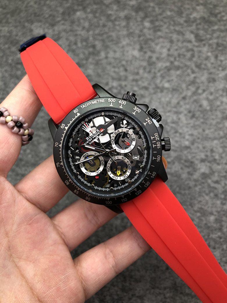 Relógios de alta qualidade japonesa VK Quartz Chronograph Watch luxuosas dos homens do esporte pulseira de borracha Soft Top bang Montre de luxe