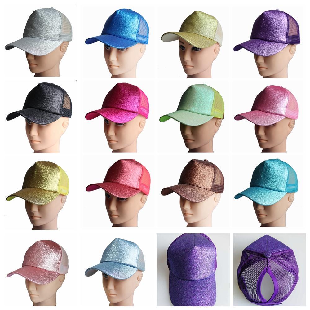 Pullu At Kuyruğu Beyzbol Şapkası Glitter Bling Dağınık Çörekler şapka Trucker Midilli kapaklar unisex Visor Cap Baba Şapka örgü yaz açık Snapbacks LJJA2324