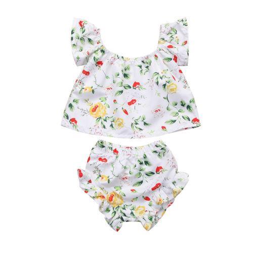 Nouveau-né le plus récent enfant en bas âge Bébés filles Floral Romper Hauts Vêtements Set Shorts T-shirt