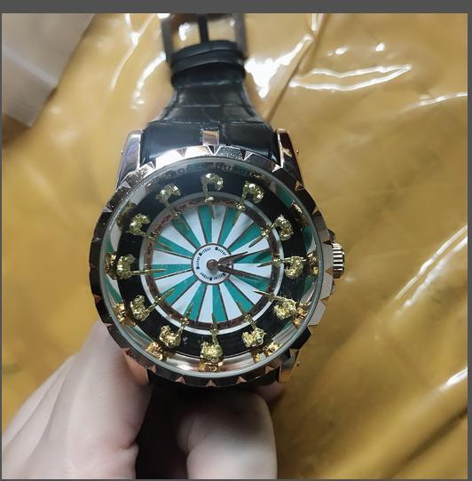 45 millimetri 12 cavaliere modo della vigilanza della pelle nera quarzo di alta qualità di alta qualità dell'uomo di sport militari mens degli uomini di design di lusso orologi RDDBEX0495