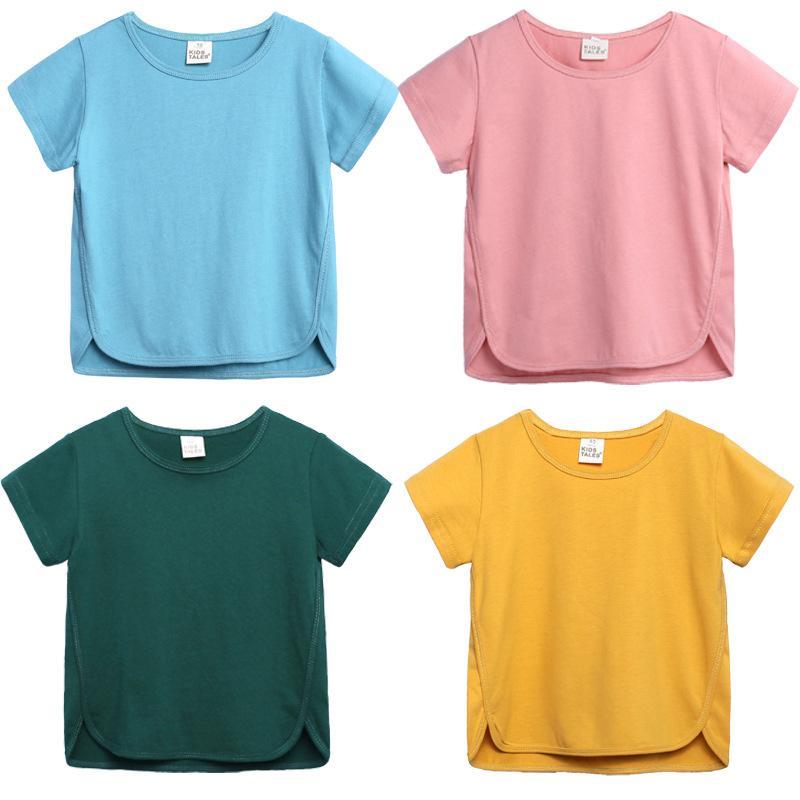 W452 verão bebê crianças de algodão t-shirt de manga curta cor sólida tops casuais meninos meninas tshirts 6 cores