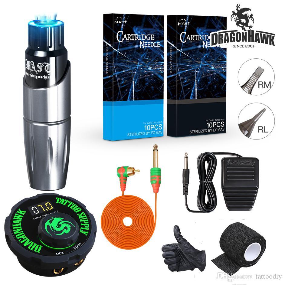 Dragonhawk Mast Tour Pen Style Rotary Tattoo Machine Kit LCD Power Supply Permanent Makeup Body Tattoo Gun