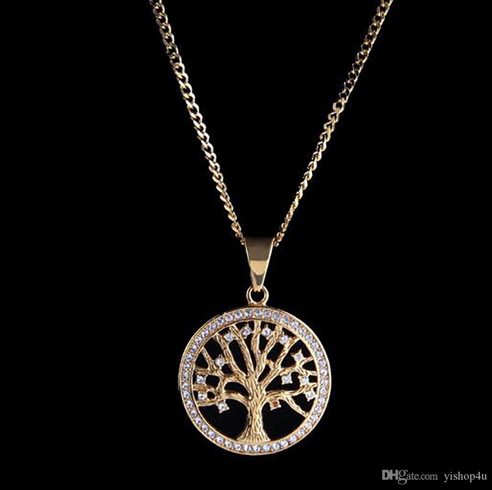 14K plaqué or glacé arbre de vie collier pendentif Micro pavé de diamants zircone diamants Rapper accessoires chanteur