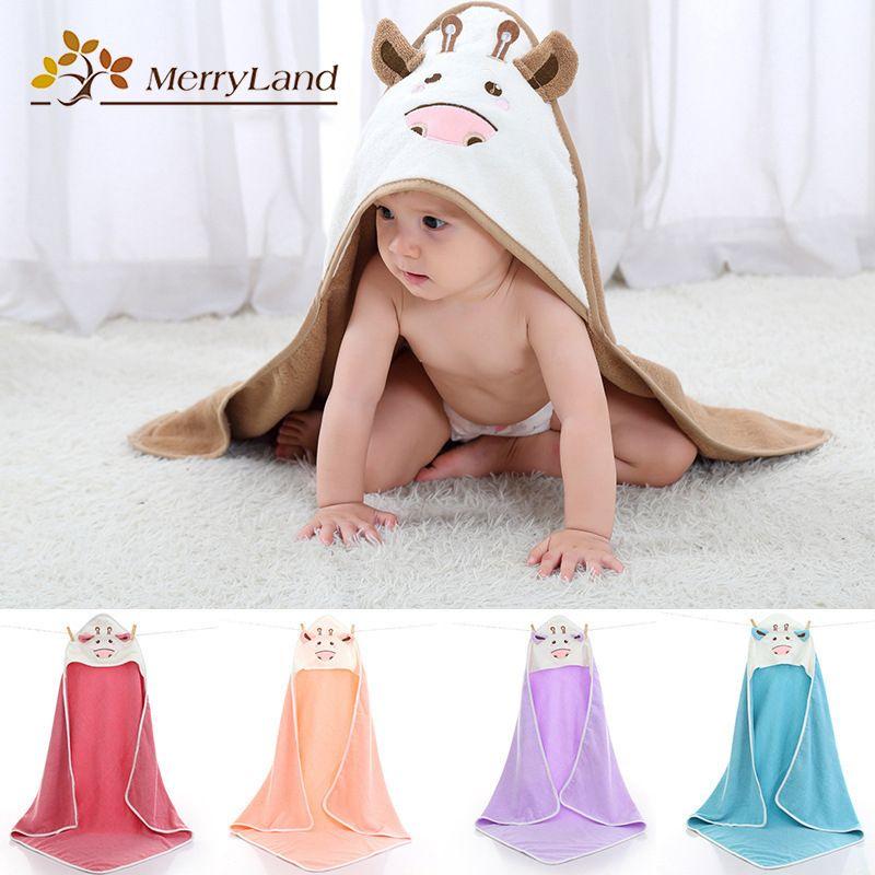 Baby Hooded Bath Towel Bathrobe Toddler Boy Girls Animal Cartoon Coral Velvet UK