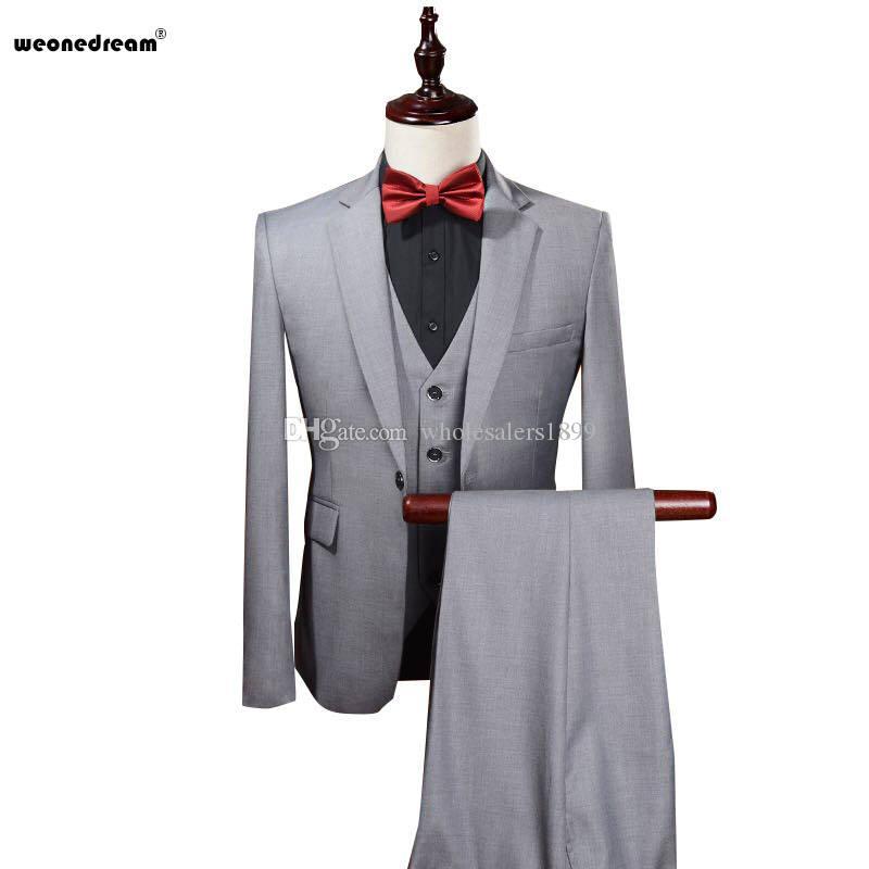 Mode eine Taste grau Bräutigam Smoking Kerbe Revers Groomsmen Männer Hochzeitsanzüge Bräutigam (Jacke + Hose + Weste + Tie) NO: 47