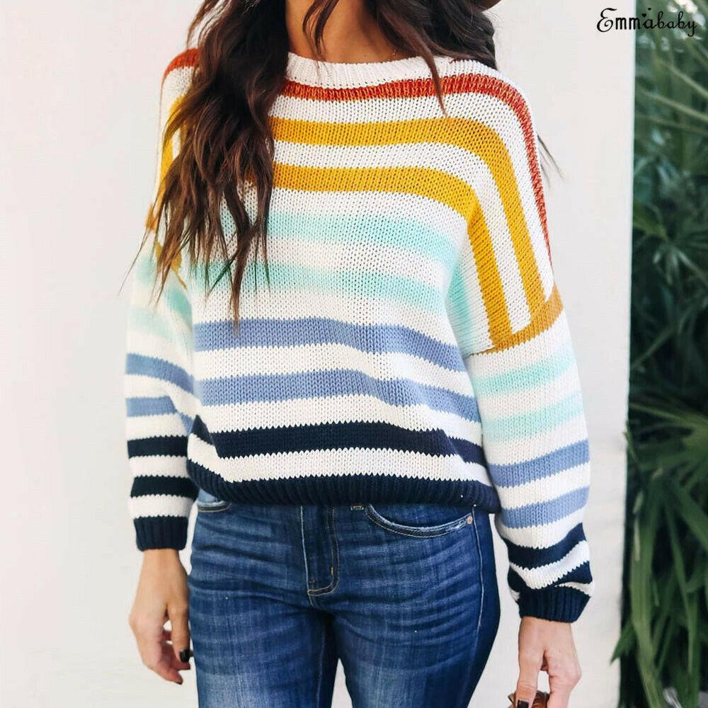 Herbst-Winter-Weinlese-Regenbogen-Streifen Rollkragenpullover Frauen Pullover warm Strick Pullover lose übergroße bunte Pullover