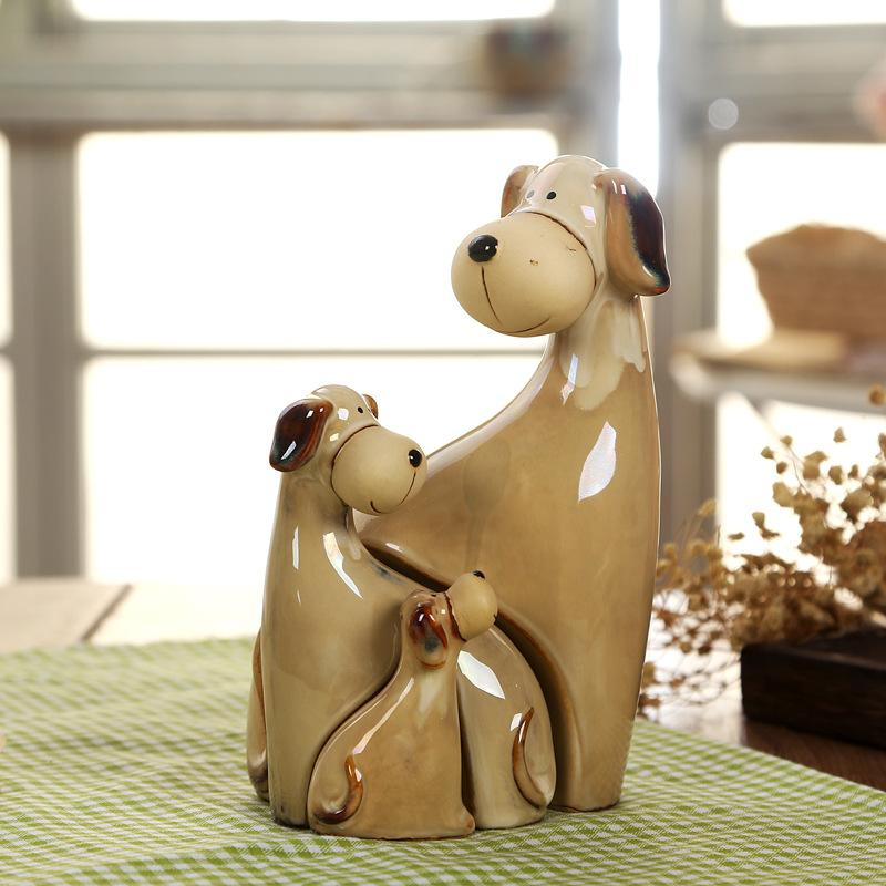 Ameublement pour la maison créatif ornements de chien chien en céramique artisanat décor de la maison figurines miniatures Ameublement pour la maison créatif