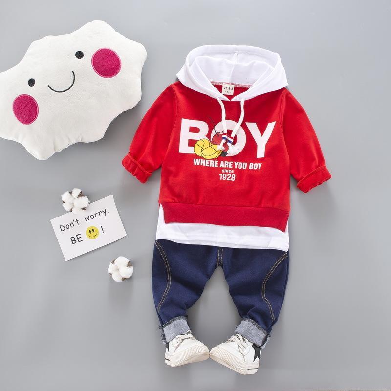 Autumn Baby Girls Ropa Conjuntos Niños Niños Trajes de ropa Letra Boys Capucha Camiseta Pantalones Infant Niños Disfraz de deportes