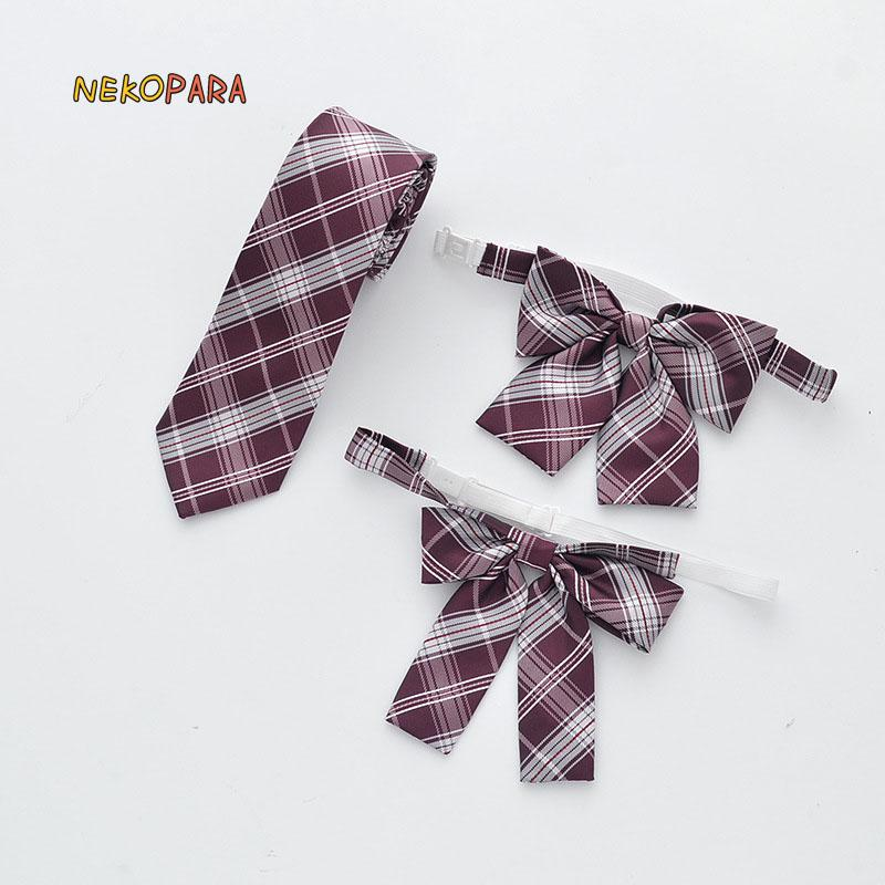 New Red Plaid Bow Tie Cute Japanese School Girls JK Uniform Student Bowknot Classic Jacquard Weave Necktie Embroidery