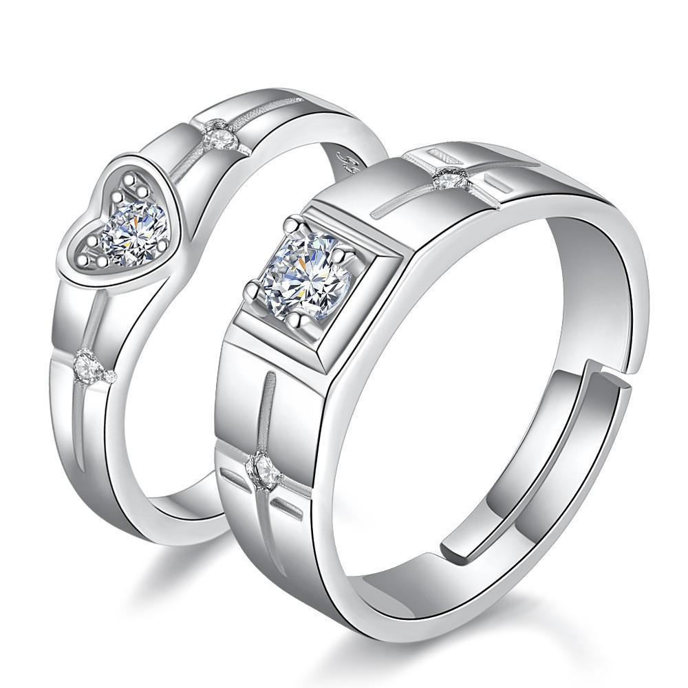 HK Fashion Men Round Cubic Zirconia Wedding Band Engagement Finger Ring Jewelry