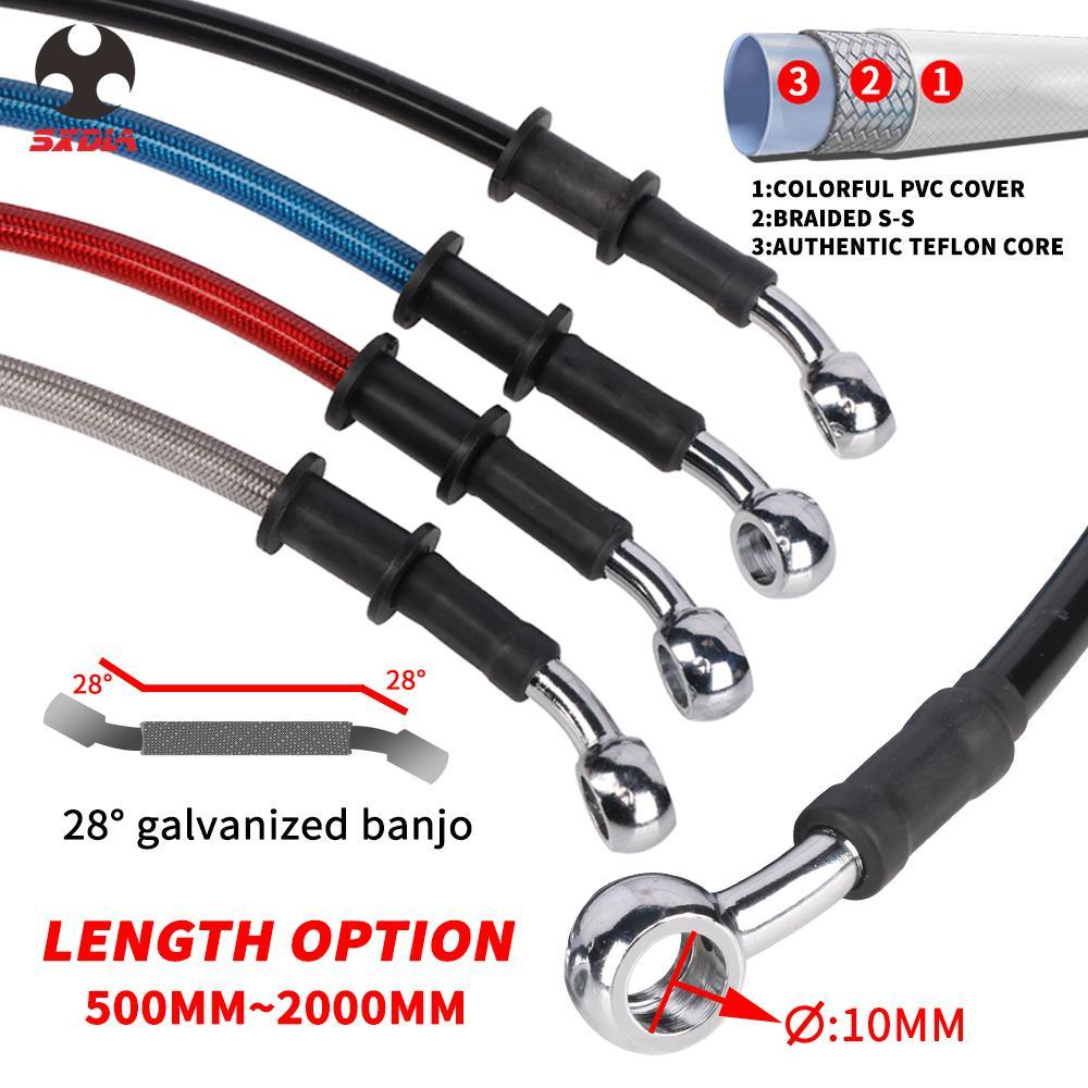 500mm - 2000mm ligne de moto flexible de frein hydraulique Câble 28 ° Banjo Universal Fit Racing MX