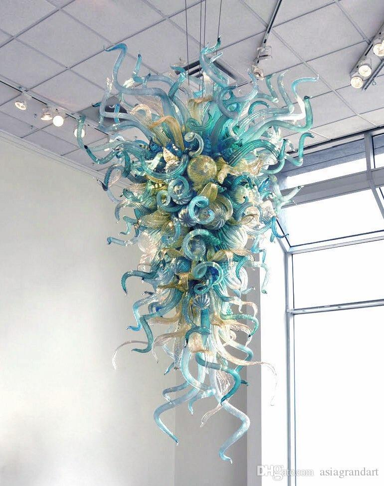 현대 최신 디자인 홈 아트 장식 조명 블루 핸드 블로우 무라노 유리 체인 펜던트 조명기 샹들리에 램프