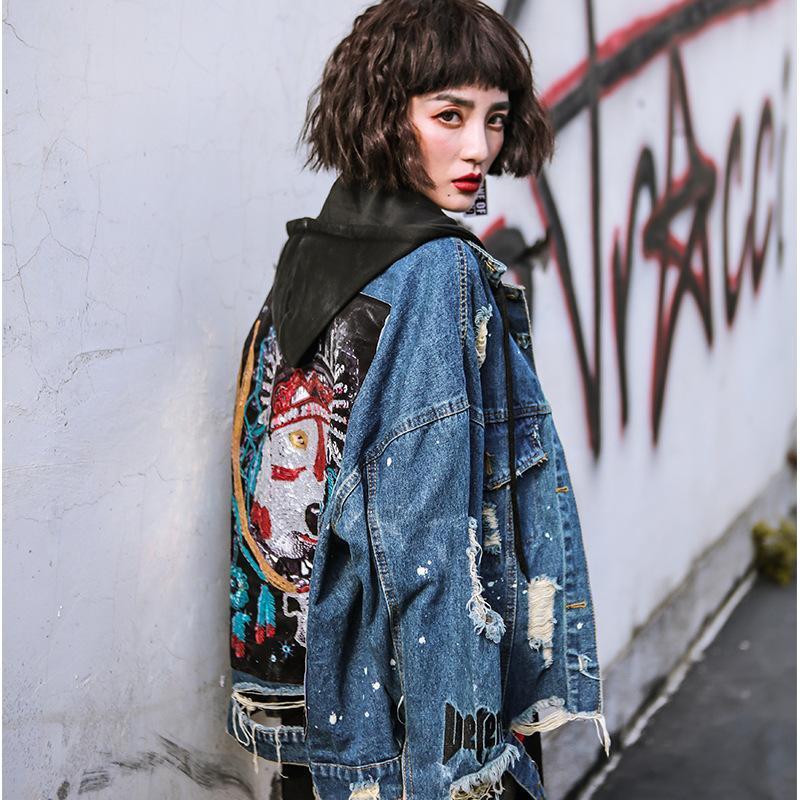 Dril de algodón de la chaqueta de la nueva personalidad impresión del remiendo del agujero de las mujeres con capucha floja de la manga completa otoño ropa de moda Escudo BD105