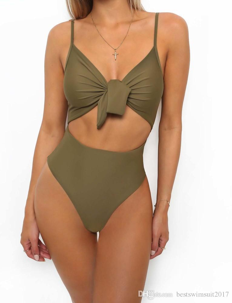 Sexy Sloid Color Swimwear One Piece Swimsuit 2019 Women Spaghetti Straps Swim Wear Woman Slimming Monokini Bathing Suits Lady Beachwear